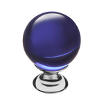 KF10-13 Ручка-кнопка,синее стекло, хром