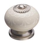 KF13-17 Ручка-кнопка,бежевая керамика с узором