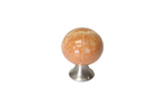 S536865028-66/tm Ручка-кнопка, отделка сталь шлифованная + мрамор песочный