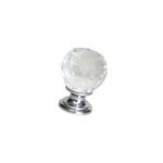 Ручка-кнопка, отделка хром глянец + стекло 9992/400