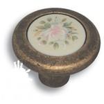 9851-831 Ручка кнопка керамика с цветочным орнаментом, старая бронза