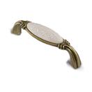 Ручка-скоба 96мм бронза состаренная/керамика белые узоры WMN.68.01.M3.096.D1